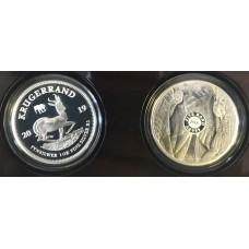 2019 KRUGERRAND (PRIVY MINT MARK) & ELEPHANT - 1oz FINE Silver PROOF - MINT SET +COA