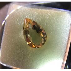 CERTIFIED 1.6060 cts - Medium Light Yellow - NATURAL CITRINE - pear cut - LI2 / G